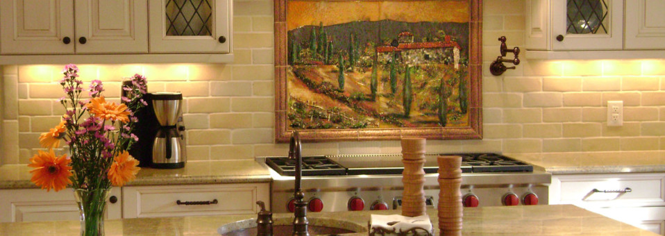 Fused Glass Kitchen Backsplash in Tuscany Theme