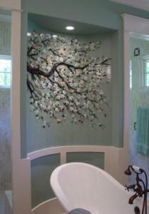 Dogwood Branch Glass Tile Mural on Barrel Wall
