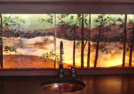 Backlit Glass Mural in Lake Scene Theme