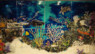 "Custom Glass Tile Mural ""Underwater Seascape"" in Kitchen Backsplash"