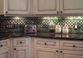 Fused Glass Kitchen Backsplash (Lattice & Parquet)