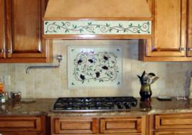 Mosaic Kitchen Backsplash Artwork (Grapes & Vines)