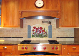 Floral Kitchen Backsplash (Poppies and Shutters)