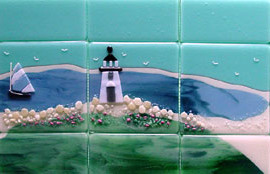 Beach Themed Fused Glass Tiles (Nantucket)