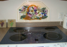 Fused Glass Kitchen Backsplash (Basket of Flowers)