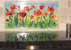 Floral Kitchen Backsplash (Red Poppies)