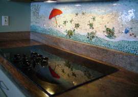 "Mosaic Kitchen Backsplash ""Beach Scene"""