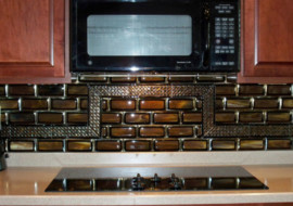 "Fused Glass Tile Kitchen Backsplash ""Stacked Tiles"""