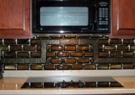 """Fused Glass Tile Kitchen Backsplash """"Stacked Tiles"""""""