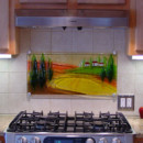 Glass Kitchen Backsplash in Tuscan Scene