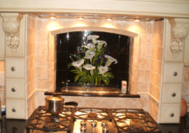 Fused Glass Kitchen Backsplash (Calla Lilly & Iris)