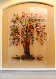 """Tree of Life"" Fused Glass Wall Mural"