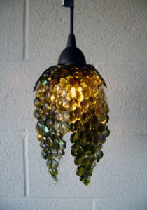"Fused Glass ""Grape Motif"" Pendant Lights"