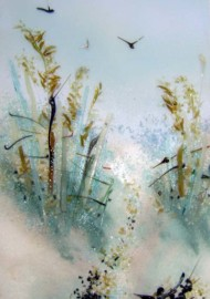 """Path to the Beach"" Themed Fused Glass Art Panel"