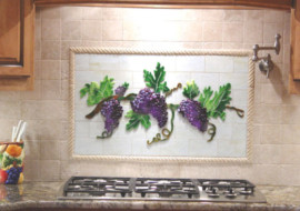 Fused Glass Kitchen Backsplash with Grapes & Vines