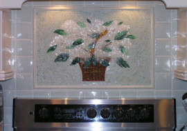 "Fused Glass ""Basket of Hydrangeas"" for Kitchen Backsplash"