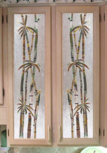 "Fused Glass Cabinet Insert Panels in ""Bamboo"" Motif"