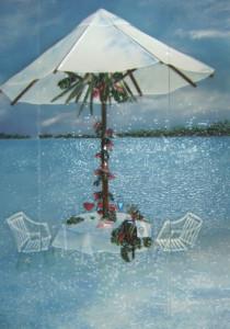 Fused Glass Tile Mural in Bora Bora Motif for Master Bath