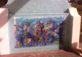 Chagall Inspired Mural on Pool Waterwall