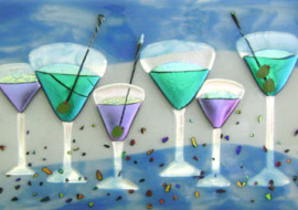 "Fused Glass ""Martini"" Panel for Bar"