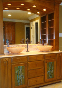 """""""Bamboo"""" Glass Cabinet Insert Panels in Master Bath"""
