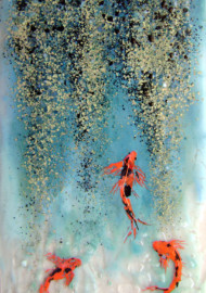 """Koi and Rain Forest"" Fused Glass Panel for Master Bath"