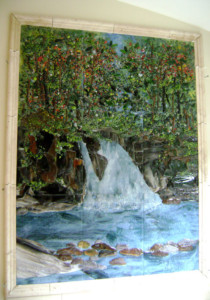 Fused Glass Tile Waterfall Mural