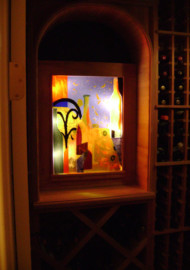 """Backlit"" Abstract Wine Cellar Mural"