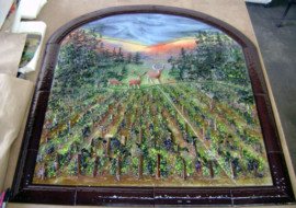 Fused Glass Mural in North Carolina Vineyard Scene