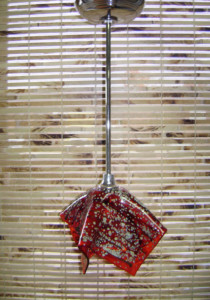 Orange & raku pendant