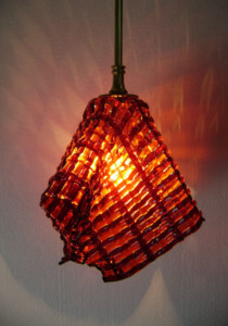 Crimson & orange woven pendant