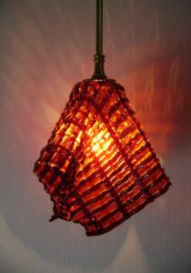 Crimson & orange woven pendant