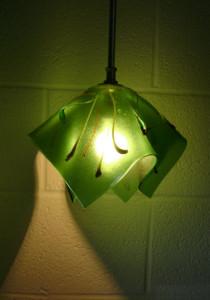 Iridized green organic pendant