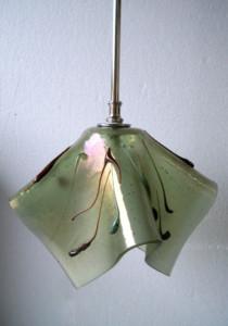 Iridized olive green organic pendant
