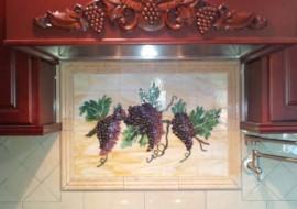 "Fused Glass ""Grapes & Vines"" Kitchen Backsplash"