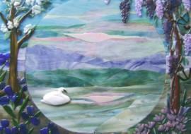 """Glass Mural """"Swan Lake"""""""