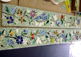 Mosaic Border Tiles in Floral Motif