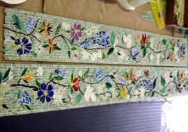 Mosaic Border Tiles in Floral Motif