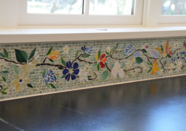 Floral Mosaic Border for Kitchen