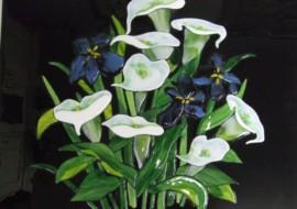 Fused Glass Calla Lilies and Irises Kitchen Backsplash