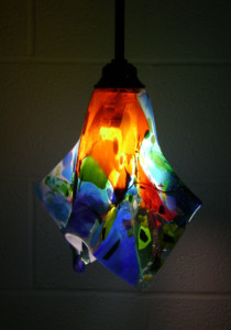 Colorful Fused Glass Pendant Light