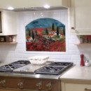 Fused Glass Kitchen Backsplash – Vineyard and Poppies