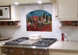 Fused Glass Kitchen Backsplash – Vineyard and Poppies