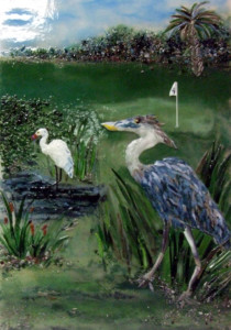 Fused Glass Wall Art – Great Blue Heron
