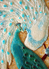Mosaic and Fused Glass Tile Mural – Peacock Lovers