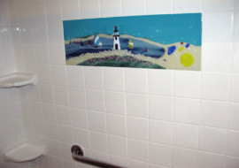 Nantucket Beach Scene Mural for Master Bath