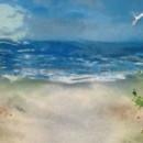 Beach Scene Mural in Fused Glass