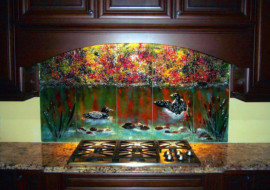 """Fused Glass """"Loon"""" Mural"""