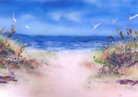Beach Scene in Fused Glass