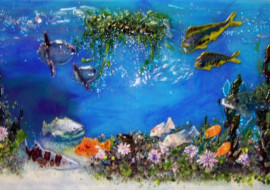 "Fused Glass ""Pacific Coast Underwater Scene"""